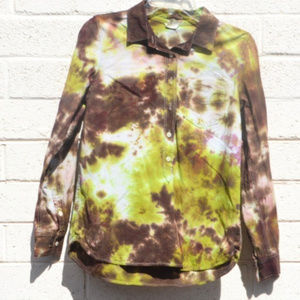 Long Sleeved Tie Dyed Shirt Handmade Upcycle OOAK